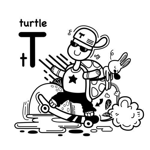 Animal literacy card turtle illustrations vector