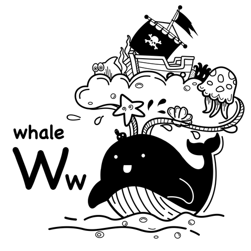 Animal literacy card whale illustrations vector