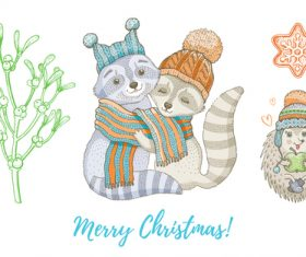 Animal theme Christmas illustration vector