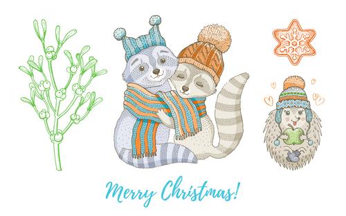 Animal theme Christmas illustration vector