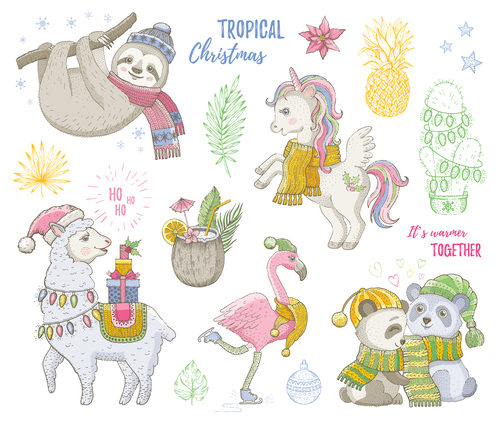 Animals and tropical plants Christmas illustration vector
