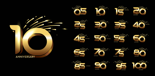 Anniversary number logo vector