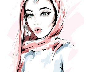 Arabian lady watercolor illustration vector