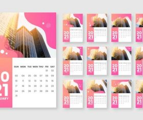 Architecture cover 2021 calendar vector