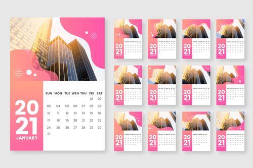 Architecture cover 2021 calendar vector