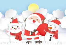 Art paper cut christmas flyer vector