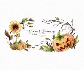 Autumn flower and pumpkin halloween card vector