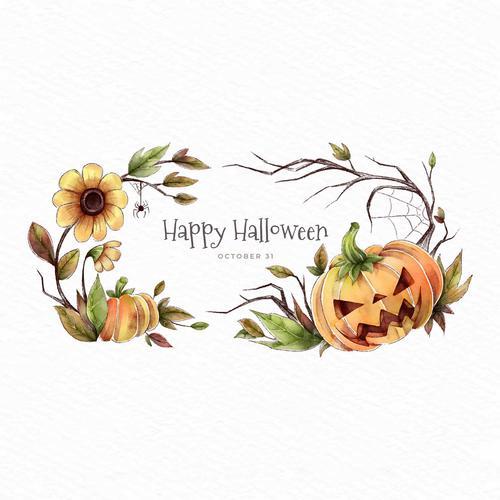 Autumn flower and pumpkin halloween card vector