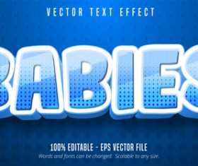 BABIES editable font effect text vector