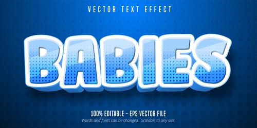 BABIES editable font effect text vector