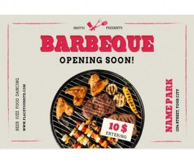 BBQ shop opening flyer vector