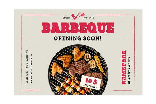 BBQ shop opening flyer vector