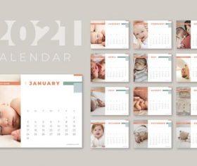 Baby cover 2021 calendar vector