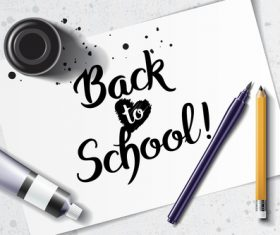 Back to school black font vector