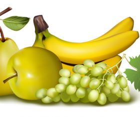 Banana pear apple vector illustration