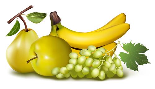 Banana pear apple vector illustration