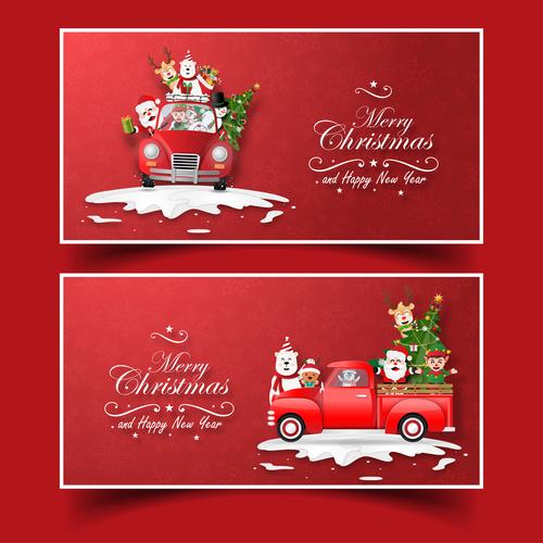 Banner christmas greeting card vector