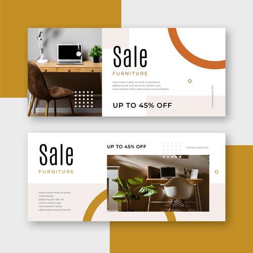Banner furniture promotional flyer vector
