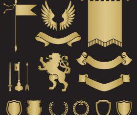 Banner shield silhouette heraldry vector
