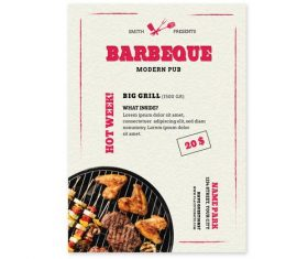 Barbecue shop promotional flyer vector