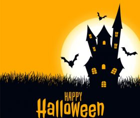 Bats flying out from haunted house halloween card vector