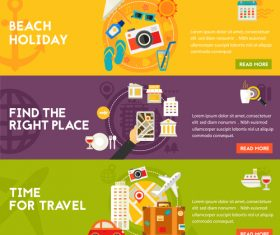 Beach holiday flat concept vector