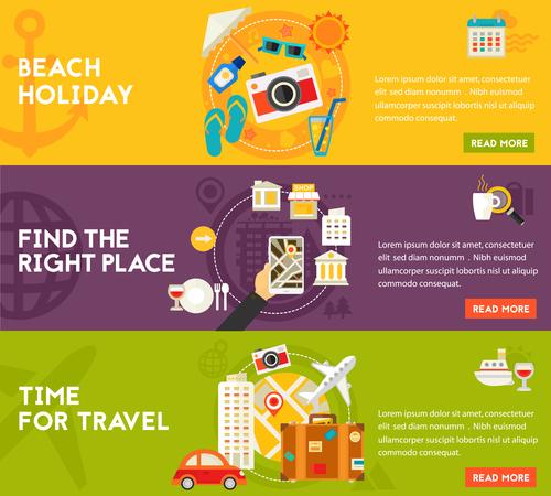 Beach holiday flat concept vector