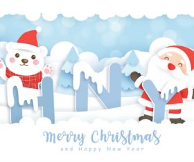 Bear and happy santa vector