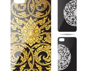 Beautiful art pattern phone cases cover vector
