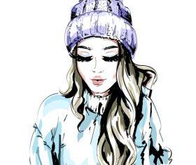 Beautiful girl watercolor painting illustration vector