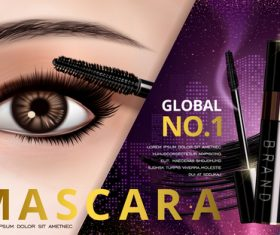 Beautiful woman choosing mascara advertisement vector
