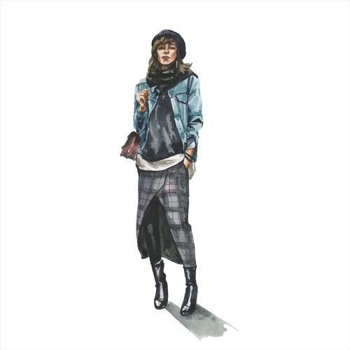 Beautiful woman watercolor illustration vector