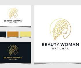 Beauty woman business card cover design vector
