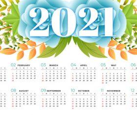 Berry and flower background 2021 calendar vector