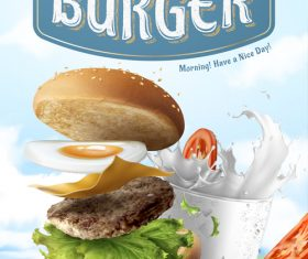 Best deal for your breakfast Hamburger advertising vector