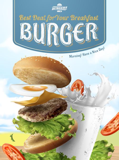 Best deal for your breakfast Hamburger advertising vector