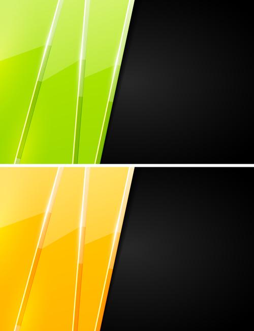 Bicolor block vector on black background