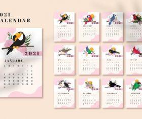 Bird cover 2021 calendar vector