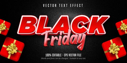 Black Friday editable font effect text vector