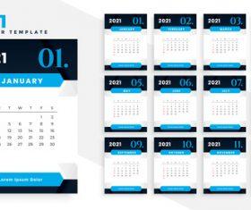 Black and blue 2021 calendar vector