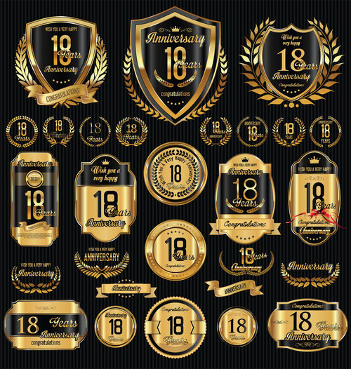 Black and golden anniversary badges vector