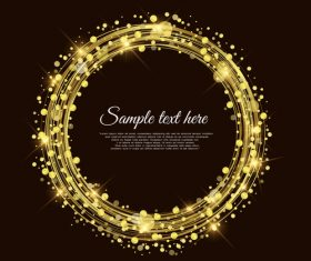 Black background gold round frames vector