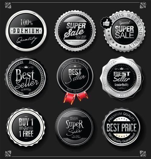 Black badge label vector