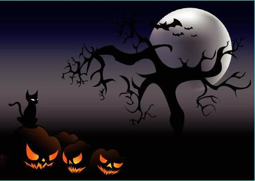 Black cat and pumpkin lantern halloween background vector