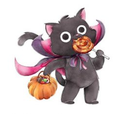 Black cat eating candy cartoon halloween card vector