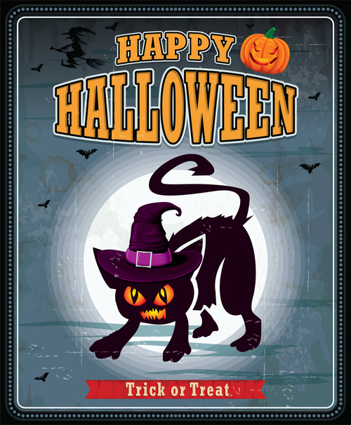 Black cat halloween card cover vector