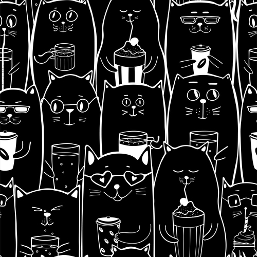Black cats with coffee drinks seamless pattern vector