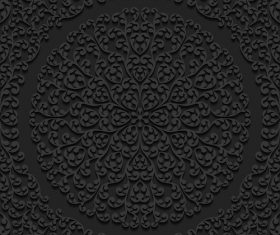 Black flower silhouette pattern vector