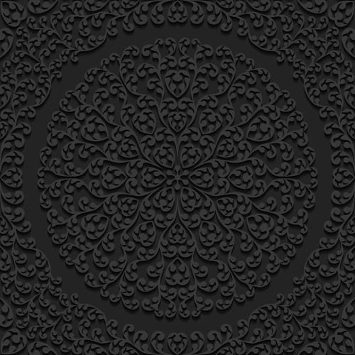 Black flower silhouette pattern vector
