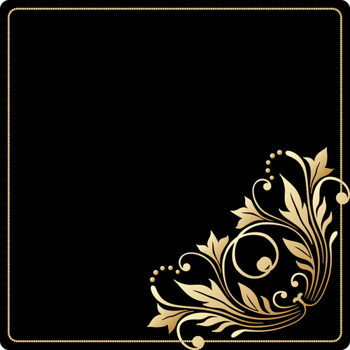 Black frame and decorative flowers vector